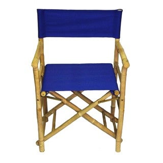 Set of 2 Bamboo Director's Chairs with Blue Canvas (Vietnam)