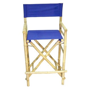 Handmade Set of 2 Bamboo Canvas Barstools (Vietnam) (Option: Blue)