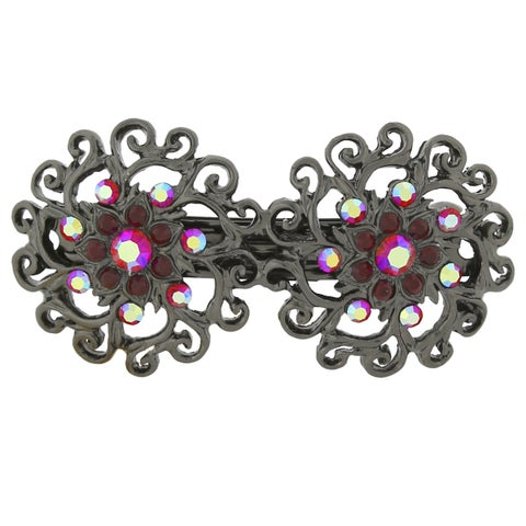1928 Jewelry Blacktone Red Crystal and Red Crystal Ab Barrette
