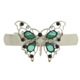 1928 Jewelry Silvertone Black and Blue Ab Crystal with Emerald Color Butterfly Barrette