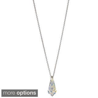 Decadence Sterling Silver Austrian Crystal Teardrop Necklace