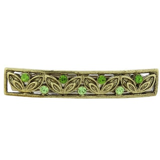 1928 Jewelry Goldtone Green Crystal Bar Barrette