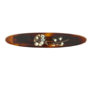 1928 Jewelry Silvertone Brown Tortoise Shell Color Crystal Ab Barrette