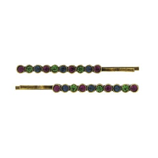 1928 Jewelry Antiqued Goldtone Purple/ Blue and Green Crystal Bobby Pins