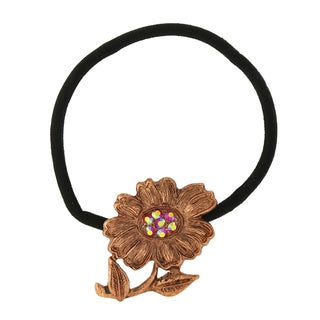 Coppertone Red Crystal Ab Flower Ponytail Holder