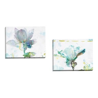 Portfolio Canvas Decor Leila 'Lotus Horizontal' Framed Canvas Wall Art (Set of 2)