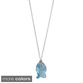 Decadence Sterling Silver Austrian Crystal Fish Necklace