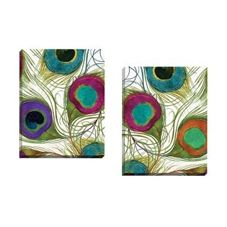 Portfolio Canvas Decor Mindy Sommers 'Peacock Feathers 1' Framed Canvas Wall Art (Set of 2)