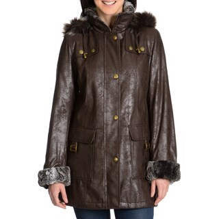 Women's Faux Fur Trim Leatherette Napa Coat