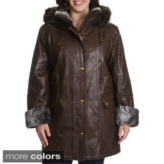 Plus Size Faux Fur Trim Leatherette Napa Coat