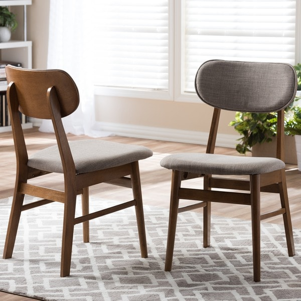 Sacramento Mid Century Walnut And Grey Fabric Dining Chairs (Set Of 2)