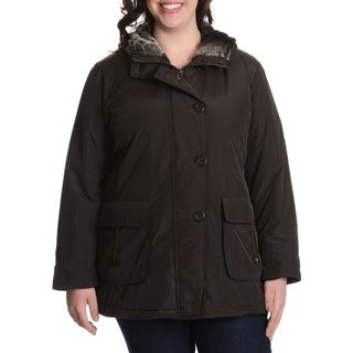 Nuage Women's Plus Size Faux Fur Trim Coat