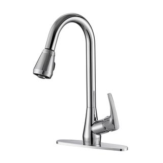 Ruvati RVF1226B1CH Pullout Spray Kitchen Faucet with Deck Plate - Polished Chrome