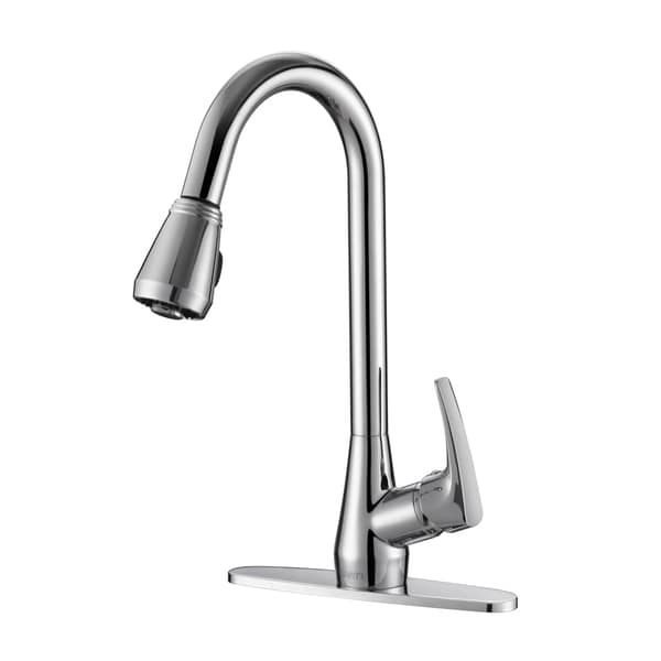 Shop Ruvati Rvf1226b1ch Pullout Spray Kitchen Faucet With