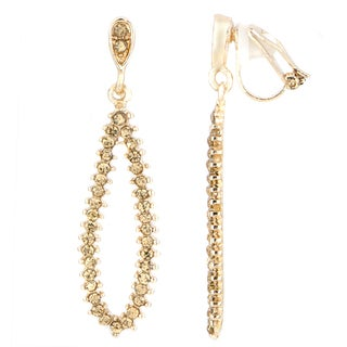 Goldtone Brass Pear Drop Clip-on Earrings