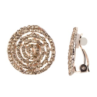 Goldtone Champagne Cubic Zirconia and Goldtone Spiral Clip-on Earrings