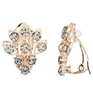 Emitations Goldtone Grey Cluster Clip-on Earrings