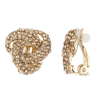 Goldtone Champagne Love Knot Clip-on Earrings