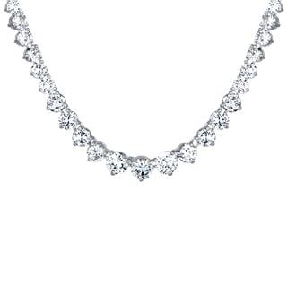 Silvertone Graduated Cubic Zirconia Tennis Necklace|https://ak1.ostkcdn.com/images/products/10172010/P17299603.jpg?impolicy=medium
