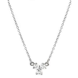 Silvertone Cubic Zirconia Petite Clover Charm Necklace