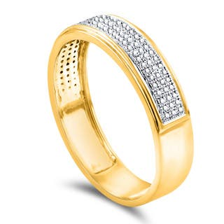 10k Yellow Gold Mens 1 4ct TDW Diamond Wedding Band
