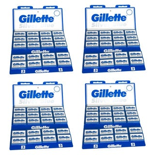 Gillette 100 Silver Blue Double Edge Razor Blades (Pack of 4)