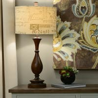 Decor Therapy Wood-toned Resin and Linen Scripted Shade 29.25-inch Table Lamp