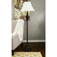 Decor Therapy Dark Brown Resin 61-inch Floor Lamp with White Fabric Shade