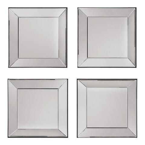 Decorative Square Wall Mirrors (Set of 4) - Silver