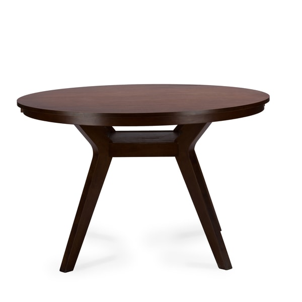baxton studio montreal mid century dark walnut round wood dining table free shipping today. Black Bedroom Furniture Sets. Home Design Ideas