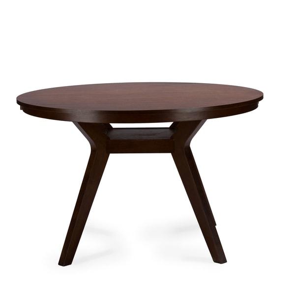 Baxton Studio Montreal Mid Century Dark Walnut Round Wood Dining Table Free