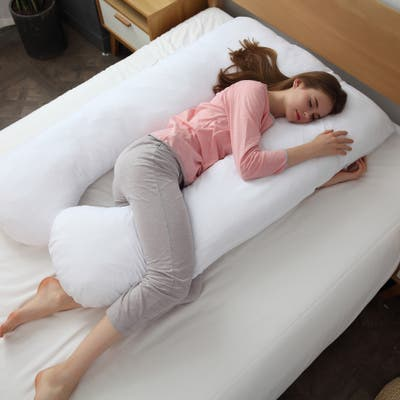 Cheer Collection Alternative Down U Shape Pillow - White