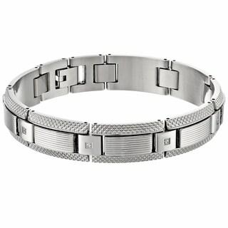 Stainless Steel 0.12ct TDW White Diamond Textured Bracelet (H-I, I2-I3)