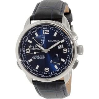 Nautica Men's NAD19507G Blue Leather Analog Quartz Watch