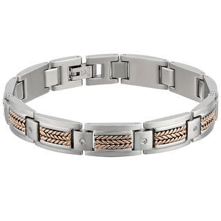 Stainless Steel Two-tone Cubic Zirconia Men's Bracelet