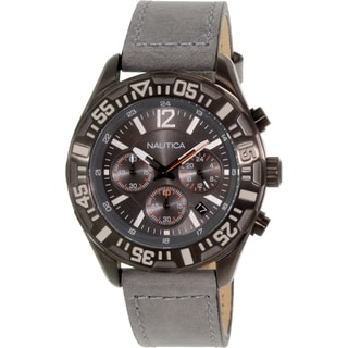 Nautica Men's Nst N18720G Grey Leather Analog Quartz Watch