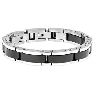 Stainless Steel and Ceramic Men's Link Bracelet