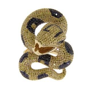 14k Yellow Gold 5 3/8ct TDW Yellow and Black Diamond Snake Ring