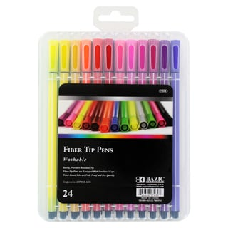 Bazic Washable Fiber Tip Pens Assorted Colors (Pack of 24)