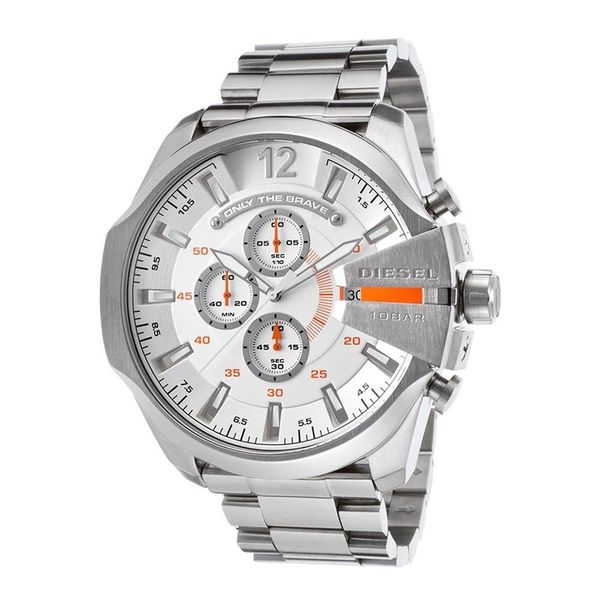 0d0773cf762a Shop Diesel Men s Mega Chief DZ4328 Silver Stainless-Steel Quartz Watch -  Free Shipping Today - Overstock - 10172363