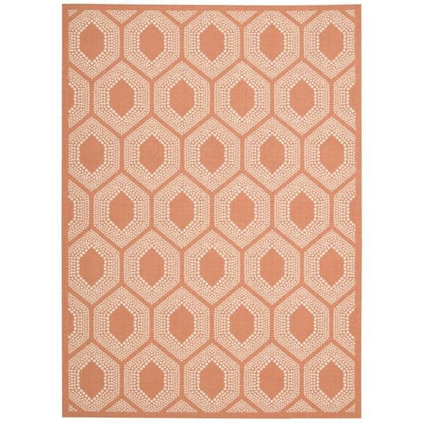 Waverly Sun N' Shade Bubbly Tangerine Indoor/ Outdoor Rug by Nourison (7'9 x 10'10)