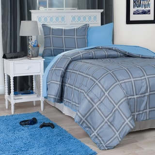Windsor Home Blue Squared 22-Piece Reversilble Dorm-in-a-Bag Set