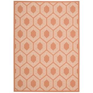 Waverly Sun N' Shade Bubbly Tangerine Indoor/ Outdoor Rug by Nourison (5'3 x 7'5)