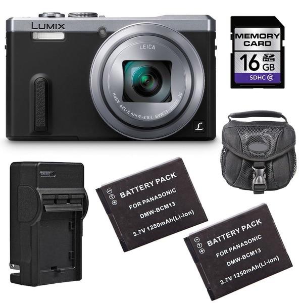 Panasonic Lumix DMC-ZS40 Silver Digital Camera with 2 Batteries and 16GB Card Bundle