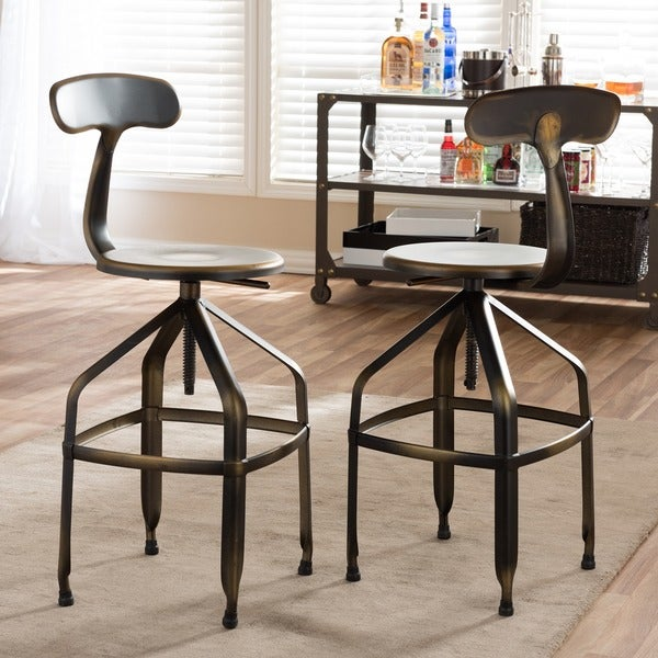 Industrial Metal 26-30  Adjustable Bar Stool by Baxton Studio & Industrial Metal 26-30