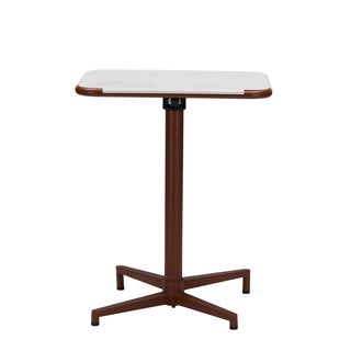 Baxton Studio Marinos 24-inch Square White Top Brown Metal Base Bistro Table