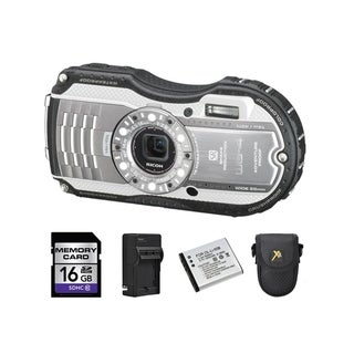 Ricoh WG-4 Silver Digital Camera with 2 Batteries and 16GB Card Bundle