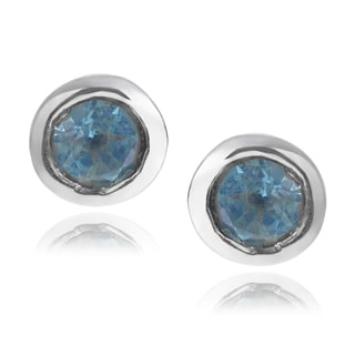 Journee Collection Sterling Silver Round Gemstone Stud Earrings
