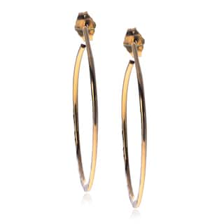 Journee Collection Sterling Silver Golfill Hammered Oval Post Hoop Earrings