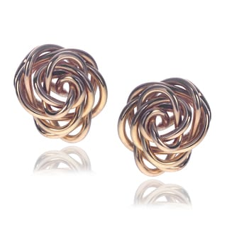 Journee Collection Goldfill Sterling Silver Rose Stud Handmade Earrings